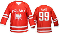 Wholesale Poland hockey National jersey shirts custom any name and number size small S xl