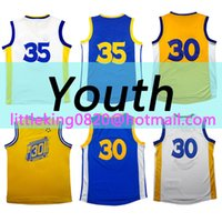 Wholesale 100 Stitched New Youth Kevin durant Jersey Curry Kids High quality embroidery Blue white Gold