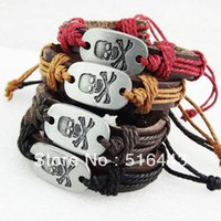 Wholesale 12pcs Fashion Jewelry Antique silver plated Leather Carving Skull Bracelets Bangles for Mens Womens A766