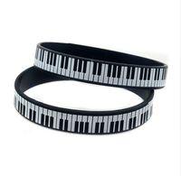 Wholesale 50pcs Piano Keys Bracelet Rubber silicone Music Keyboard Wristband Pianist Player