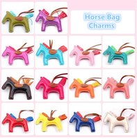 Wholesale 17 Colors Fashion Cute Women s Bag Pendant High end Handmade PU Handbag Key Chains Tassel Rodeo Horse Bag Charm bag Accessories