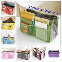 Wholesale Christmas Discount Colors Bag in Bag Dual Insert Multi function Handbag Makeup Bag Pocket Bag Organizer Washing Bag Cosmetic Handbag