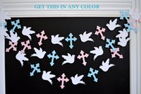 baby dedication decorations - Cross garland Christening dedication first communion Twins baby shower pink or blue baptism garland dove decor God bless your baby decor