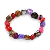Precio de Chip stone bracelet-Nuevas pulseras de las mujeres atractivas de la manera Amethyst del jaspe Agate Lazuli Reiki Brazaletes 7 Chakra Healing Crystals Chips naturales de la piedra Solo filamento