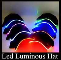 Wholesale hot LED Light Hat Led hat light jazz Glow Hat Black Fabric unisex Baseball Caps Luminous Selection adjustable