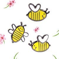 Men's bee jeans - PC Harajuku Style Cute Yellow Bee Brooch Pins Party Gift Insect Enamel Pin Badge Brooches For Women Jeans Bag Decoration