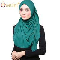 arab women veil - Double Stretch Jersey Hijab Muslim Head Scarf Dubai Turban Wrap Big Size Arab Islamic Women Veil Comfy Modal Shawl Chic Bandana