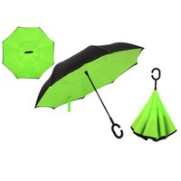 Wholesale Drop Shipping Windproof Reverse Folding Double Layer Inverted Chuva Umbrella Self Stand Rain Protection C Hook Hands For Car