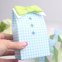 baby boy unique gifts - 100pcs Tie Boy Candy Box Green or Blue Gird Gift Box Baby shower Big Box Unique and Beautiful Design