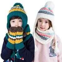 Wholesale Korea KK Tree Kids Hat Scarf Gloves Three piece Suits For Children Outdoor Warm Suits In Winter