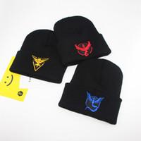 Wholesale Poke Beanie Crochet Knit Hats Black Color Pikachu Cap Hip Hop Beanie Caps Men Women Winter Warm Hats Fashion Accessories