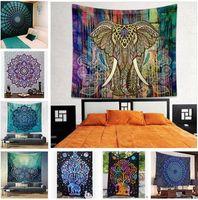 Wholesale Tapestry Blanket Mandala Hippie Bohemian Elephant Tapestry Wall Hanging Wall Art Dorm Decor Throw Polyester Beach Shawl Towel DHL