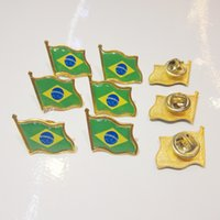 Wholesale brazil flag lapel pin flag badge for campaign american brazil flag pin