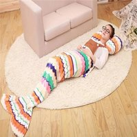 Wholesale 2016 Kids Mermaid Blankets Mermaid Tail Mermaid Tail Sleeping Bag Sofa Nap Air Condition Blankets Super Soft Bedroom Blankets