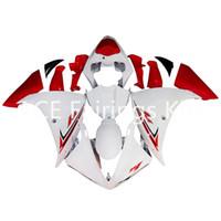 achat en gros de yzf r1 12-3 cadeaux gratuits Carénages complets pour Yamaha YZF-R1-09-10-11-12 YZF-R1-2009-2010-2011-2012 Kit de carénage complet pour moto Blanc Rouge