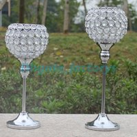 Wholesale Free shiping metal silver plated candle holder with crystals wedding candelabra centerpiece decoration set candlestick