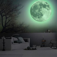 Wholesale 50cm Extra Large Size Luminous Earth Moon Wall Stickers PVC Removeable Home Decor Glow In The Dark Decal Stickers