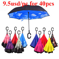 Wholesale Inverted Umbrella Double Layer Reverse Rainy Sunny Umbrella with C Handle J Handle Self Standing Inside Out Special Design Free