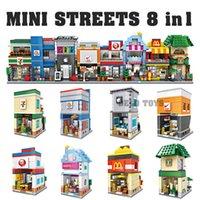 apple mini store - Plastic toys LOZ hot products mini street building diamond blocks bricks in set convenient store burger shop apple shop sports shop