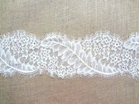 Wholesale Lace Fabric Trims Jacquard Polyester Guipure Home Textiles Decor Ribbon Sewing Party DIY Clothing Apparel Accessories Floral WHITE cm