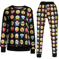 animated pants - Women s Two Piece Pants women clothes funny Sweater D Animated expression Long sleeved sweater pant autumn fashion style women pants