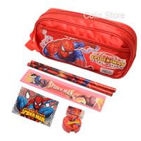 Wholesale set Spiderman pencil case for boys girls cartoon children school supplies stationery set kids pencil bag red high quality