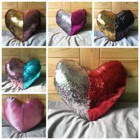Wholesale heart shaped Sequin Cushion Cover Mermaid Sequin Pillow case Pillow Covers Home Decorative Pillowcase FEDEX DHL Ship