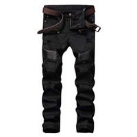 achat en gros de pantalon en cuir-Vente en gros-Fashion Designer Mens Ripped Biker Jeans Cuir Patchwork Slim Fit Noir Moto Denim Joggers pour hommes Pantalons Jeans Distressed