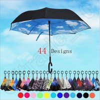 Wholesale Inverted Umbrellas Double Layer Protection C Hook Hands Inside Out Reverse Windproof Upside Down Umbrella designs Rain Umbrella OOA1120