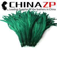 Wholesale CHINAZP Factory Exporting cm inch Length Good Quality Dyed Kelly Green Rooster Tail Feathers
