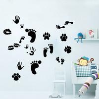 9047 Cartoon Pattes empreintes et autocollants muraux pour lèvres décors de décoration pour la maison pour enfants décorations murales / autocollants muraux autocollants en vinyle maison