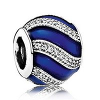 Wholesale 2016 Christmas Sterling Silver Blue Adornment Charm Bead with Blue Enamel Cz Fits European Pandora Style Jewelry Bracelets Necklace