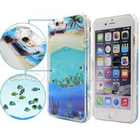 aquarium covers - 2016 For Iphone Case New Aquarium Liquid Dynamic Hybrid Fish Case Colorful Sea Fish Back Cover Plastic Case Retail Package