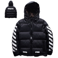Wholesale European and American Fashion Brand OFF WHITE Black and White Stripes Famous Winter Men Wool Jacket Coat High Quality Duck Down Jackets