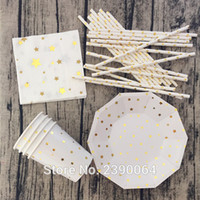 bamboo plates disposable - sets Gold Foil Star Disposable Tableware Party Paper Plates Cups Baby Shower Favor Paper Napkins Drinking Straws