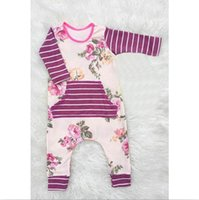 Wholesale Toddler infant baby rompers purple floral jumpsuits newborn girls striped bodysuits outfits one piece children clothing