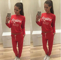 Wholesale Sportswear letters printed round neck long sleeves Sport Suit
