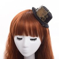 Wholesale 1pc Lolita Hairclip Steampunk Mini Top Hat Goth Geer Wing Chain design Hair Clip Fast Shipment