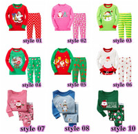 animal pajama unisex - 2017 XMAS Cotton Long Sleeve Girls Boys Kids Clothing Sets Suits Pajama Piece Sleepwear Fashion Father Christmas Snow Sleepwear for T