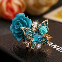 Wholesale Rose Ring National Wind Butterfly Ring Retro Bohemian Alloy European and American jewelry Cheap Price Cluster Rings