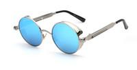 al por mayor retro gafas de sol redondas círculo-Gótico Steampunk Hombres gafas de sol de revestimiento espejo de gafas de sol círculo Gafas de sol Gafas Vintage Masculino Sol