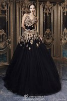 bamboo flower - Rami Kadi New Evening Dresses A Line V Neck Sleeveless With Gold Applique Tulle Elegant Floor Length Formal Prom Gown
