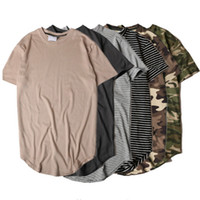 Wholesale Summer Striped Curved Hem Camouflage T shirt Men Longline Extended Camo Hip Hop Tshirts Urban Kpop Tee Shirts Mens Clothes