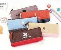 Wholesale cotton and linen fabric mosaic creative pencil case stationery bag