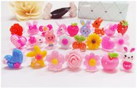 Wholesale Hot selling rings for women Handmade Children resin rings cartoon cute flower rings