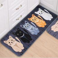 Wholesale Kawaii Welcome Floor Mats Animal Cat Printed Bathroom Kitchen Carpets Doormats Cat Floor Mat for Living Room Anti Slip Tapete