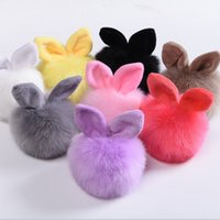 Wholesale Pompon Fluffy Porte Clef Pompom de Fourrure Women Femme Pom Pom Keychain Rabbit Ear Fur Ball Key Chain Rings llavero Bag