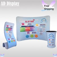 Pop Up Banner 3 1.2mm High Quality 10ft*7.5ft Curved Tension Fabric Advertising Backdrop With Portable Table And Snake Banner Stand(Include Single Side Printing)