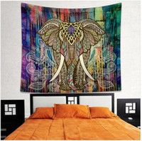 Wholesale Indian Mandala Tapestry Bohemian Elephant Tapestry Wall Hanging Psychedelic Wall Art Dorm Decor Beach Throw Indian Wall Tapestries