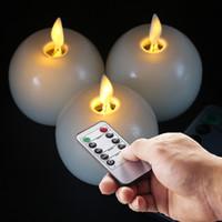 10 Llave Mando a distancia Movimiento Wick Velas sin llama de la bola del LED Flikcer con el sistema del contador de tiempo de 3 Marfil